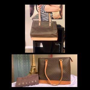CELINE Macadam Vintage Shoulder Tote Bag